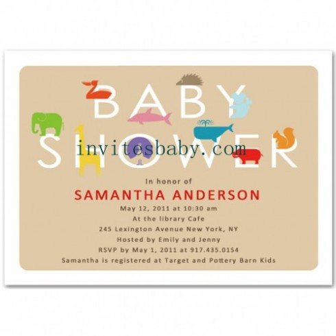 baby shower invitation neutral animals theme
