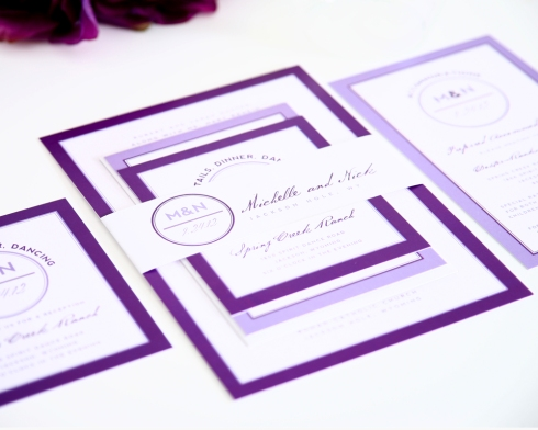 purple wedding invtiations